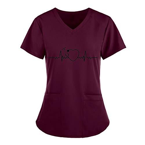 Covermason Schlupfhemd Damen V-Ausschnitt Bluse für Nurse Kasack Mit Taschen Berufskleidung für Labors, Hotels, Zahnkliniken, Tierkliniken