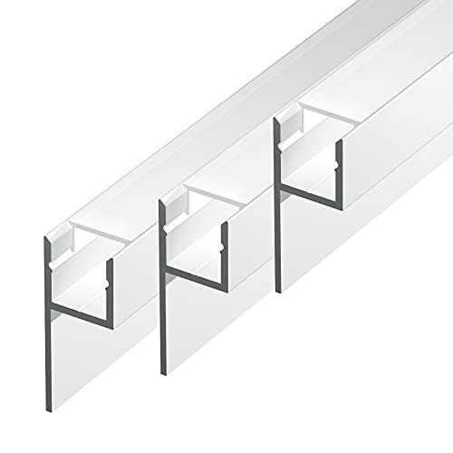 MOLA-UP (MO-109) Fliesenprofil Aluminium 3 x 2m eloxiert | Fliesen-Abschlussleiste für Led Streifen bis 1cm Breite | U-Profil Fliesenschiene + Acryl Abdeckung milchig weiß (opal) |Aluprofil belastbar