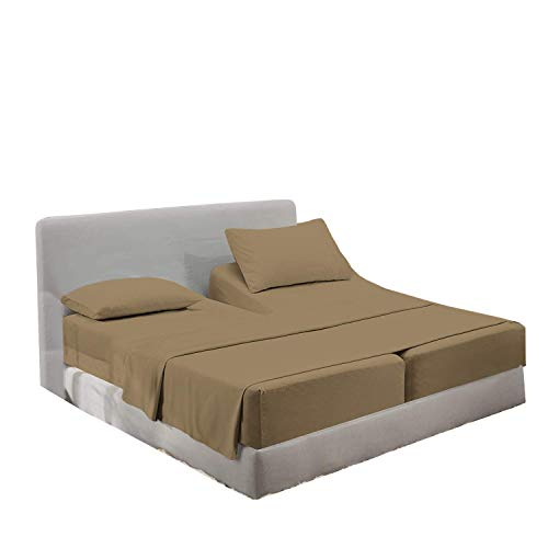 Split California King Sheet-Set for Adjustable Bed Mattress 5 Piece Wrinkle Fade Stain Resistant Breathable Deep Pocket 100% Long Staple Pure Cotton Luxurious Smooth Sateen Weave - Taupe Solid