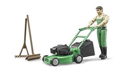 Bruder 62103 - Bworld Gärtner mit Rasenmäher und Gartengeräten
