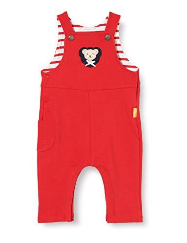 Steiff Baby-Mädchen mit süßer Teddybärapplikation Latzhose, Rot (Tango RED 4008), 086