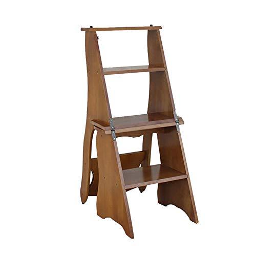 GJSN Facile e Conveniente Multifunzione Pieghevole Passo Sgabello, Grande Bosco 4 Pedate Chair 330 Lb Capacità, Coperta Scaletta/Scala a Pioli per Adulti Cucina (Colore: 1#),3#