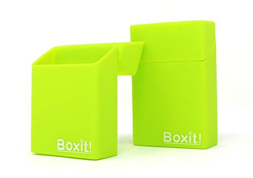 2X Zigaretten-Box aus Silikon | hellgrün Box mit Motiv grün | Zigarettenhülle - Zigarettenetui | passend für eine Zigarettenschachtel in Standardgröße - auch für die neuen 21er Schachteln