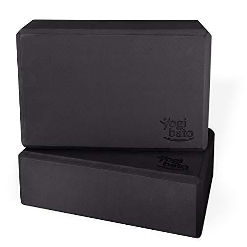Yogibato Yogablock 2er Set – 2 Blöcke aus Eva Schaumstoff – Yoga Block Doppelpack – Yogaklotz stabil & rutschfest für Meditation Pilates Joga Fitness – Yogablöcke 2 Stück – Schwarz