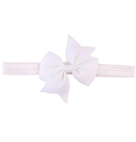 ZEZKT-Girl Baby Kind Mädchen Prinzessin Kristalldiamant Stirnband Blumen Haar-Band Süßes Baby Headband Prinzessin Stretch Stirnbänder Babygeschenke Taufe Geschenk (Weiß)