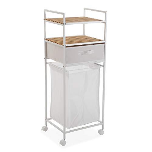 Versa Mueble para el baño con cesto de la Ropa, Bambú, Blanco, 105.5 x 32.5 x 39 cm