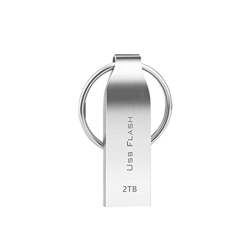 Muhoop Flash Drive 2TB Waterproof USB 3.0 Memory Stick Metal USB Drive with Keyring Portable Thumb Drive for PC/Laptop/External Storage Data(2TB Silver)