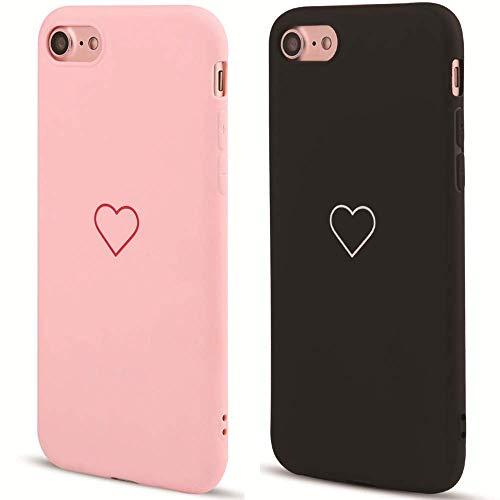 LAPOPNUT Coque iPhone 6 Plus iPhone 6S Plus [2 Pièce] Silicone en Gel TPU Souple Slim Mignon Amour-Coeur Forme Mat Antichoc Bumper Housse Étui de Protection pour iPhone 6 Plus/iPhone 6S Plus Rose&Noir