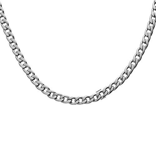 Collar para hombre de acero inoxidable de titanio de 18 quilates, cadena de plata, sin níquel, hipoalergénico