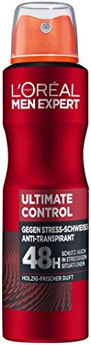 L'Oréal Men Expert Körperpflege, Effektives Deospray für Männer gegen Stressschweiß für bis zu 48 Stunden Frische, Ultimate Control, 6 x 150 ml