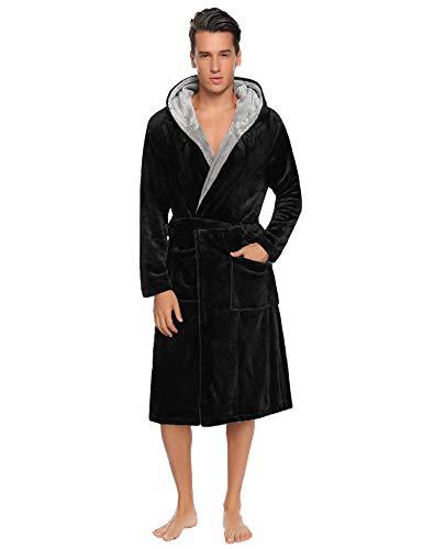 Aibrou Herren Fleece Bademantel mit Kapuze Lang Winter Warm Weich Micro-Polar Fleece Morgenmantel Saunamantel Flauschig mit Tasche