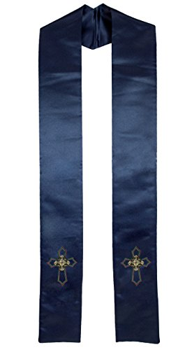 Deluxe Blue Satin Clergy Stole with Embroidered Celtic Knot Cross