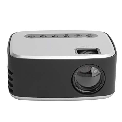 Mini proyector, proyector de video LCD TFT portátil 1080P, proyector HD de cine en casa con 20000 horas de vida útil de la lámpara LED, interfaz multimedia AV/USB/HD compatible/micro USB(Negro plata)