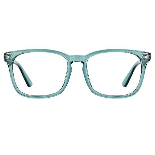 TIJN Blaulichtfilter Brillen Anti blaulicht Damen Herren Brillen ohne sehstärke Computer Brillen Gaming Brillen für PC Handy und Fernseher (Klar grün)