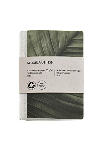 Miquel Rius - Cuaderno bonito reciclado, encuadernación con grapa y lomo de tela, tamaño 104 x 150 mm, 56 páginas lisas de 80 g/m², diseño Hoja
