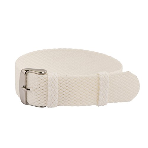 Clockwork Synergy - Perlon Watch Strap Braided Nylon Band (22mm, White)