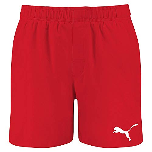 PUMA Mens Men's Mid Shorts Swim Trunks, red, XL