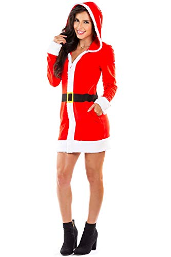 Women's Mrs. Claus Christmas Sweater Dress - Red Zip Up Santa Dress with Hood Female: X-Large