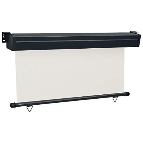 Festnight Balkon-Seitenmarkise 160 x 250 cm Creme Senkrechtmarkise Sonnenschutz Sichtschutz Windschutz Markise Außenrollo Balkonrollo