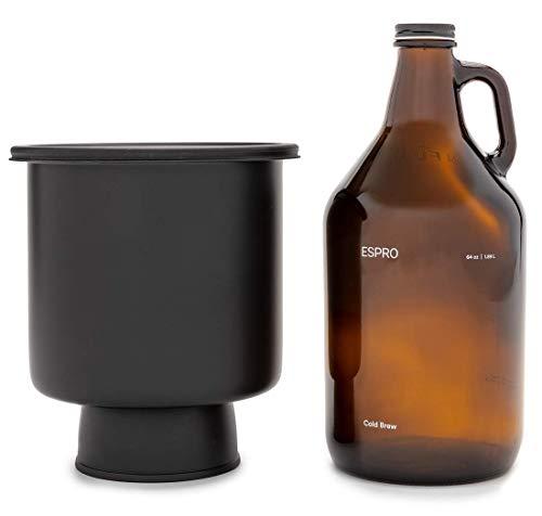 Espro 17978 koffiemaker Cold Brew, koffiemaker voor ijskoffie en ijsthee, glas, 1,89 L, zwart, roestvrij staal