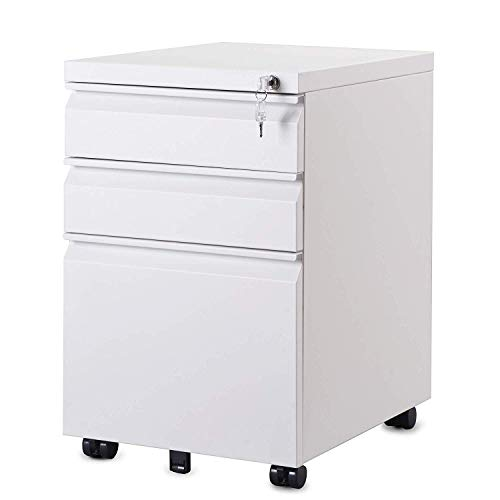 Merax 3-Drawer Mobile File Cabinet Filing Pedestal Metal Solid Mobile with Keys, Fully Assembled Except Casters (White)