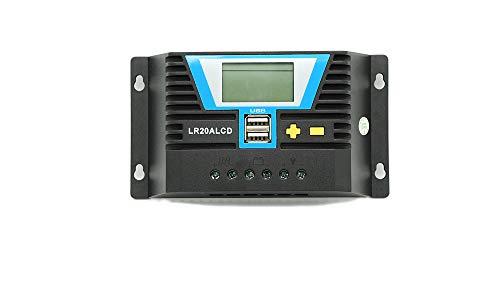 WATTSTUNDE Solar Laderegler 20A LR20ALCD mit Dual USB-Anschluss und LCD-Anzeige für 12V / 24V (LR20A LCD)