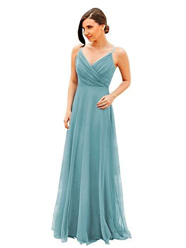 Ever-Pretty A-línea Vestido de Noche Tul Cuello en V sin Respaldo para Mujer Dama de Honor Azul Ahumado 48