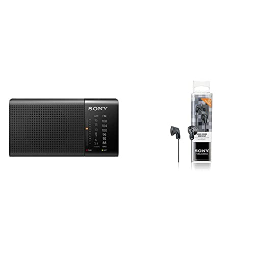 Sony Icf-P36 Radio Analógico Portátil FM/Am, Negro, 13.15 X 6.95 X 4.35 Cm + Mdre9Lpb Auriculares De Botón, Color Negro, In Ear