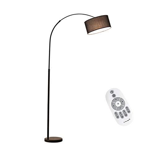 VOMI Retro Vloerlamp Huiskamer, E27 12W Booglamp Met Afstandsbediening, Dimbaar Eettafellamp, Staande lamp, Vloerlamp, Kleding Stof Lampenkap, Voor Eettafel Slaapkamer Eetkamer Kantoor H185CM