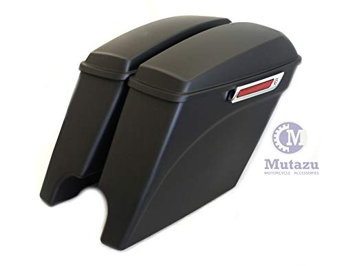 Buy Discount Matte Black Curve Extended Saddlebags Stretched Bags for 2014 up Harley Touring