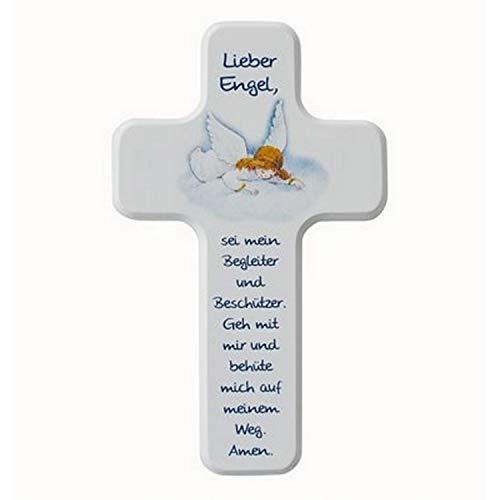 MaMeMi Holzkreuz Kinder-Kreuz Lieber Engel 18 x 11 cm