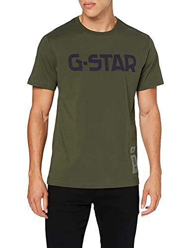 G-STAR RAW G-Star Round Neck Camiseta, Verde (Dk Bronze Green 336-6059), XXL para Hombre