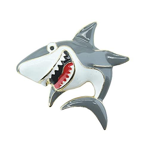 Linda pintura masilla broche de tiburón blanco personalidad boca grande tiburón divertido broche traje collar pin sombrero pin