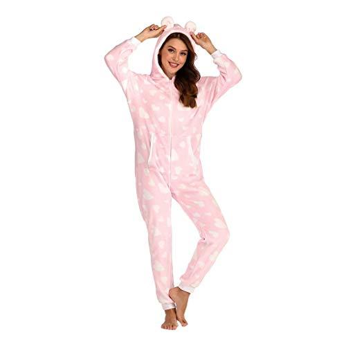 SHE.White Damen Kapuzen Onesie Hausanzug Winter mit Tasche Warm Jumpsuits Flanell Einteiliger Hoodie Pyjama Druck Overall Playsuit