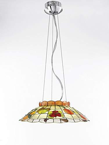 PERENZ Deckenlampe mit Lampenschirm aus Perlmutt verziert 47cm x H 13cm 1xT5 40W inkl. Höhe verstellbar 100cm