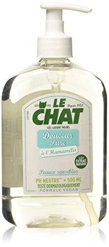 Le Chat - Savon Mains - Gel Lavant - Douceur Pure - A l'Hamamélis - Peaux sensibles - Testé dermatologiquement - Formule Vegan - PH Neutre - Flacon 500ml