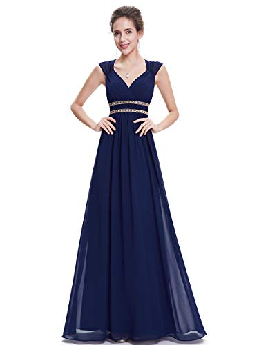 Ever-Pretty Womens Long Sleeveless Beaded Empire Waist Mother of The Bride Dress 10 US Navy Blue