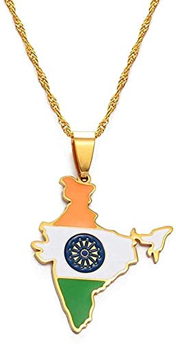 WSBDZYR Co.,ltd Necklace Fashion India Map Flag Pendant Necklaces Gold Color Indian Jewelry