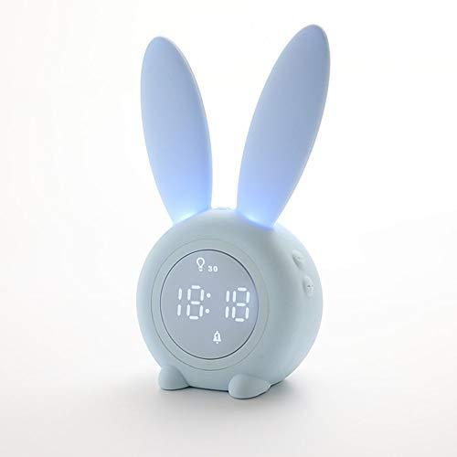 OMJNH Reloj de Alarma, la Alarma temporizada de Carga USB lámpara de la mesita de luz Nocturna de inducción, Adecuada para el Estudio, Oficina, Dormitorio, Sala de Estar (Azul)