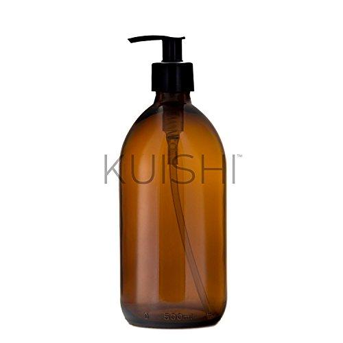 Kuishi Dispensador Jabón de Vidrio Ámbar [500ml, Paquete de 1], Botella de Vidrio Ámbar, Accesorios Baño (Senza BPA)