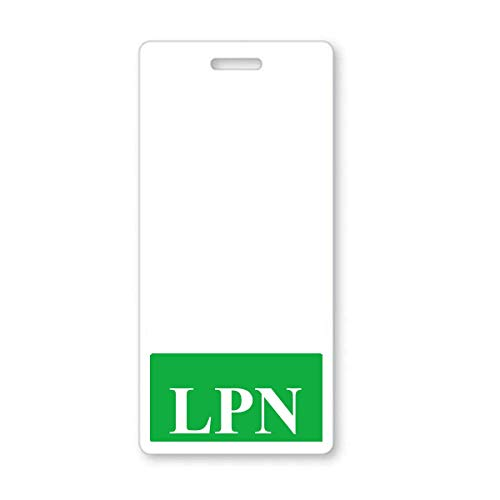 LPN Badge Buddy - Heavy Duty Vertical Badge Buddies for Licensed Practical Nurses - Spill & Tear Proof Cards - 2 Sided USA Printed Quick Role Identifier ID Tag Backer by Specialist ID