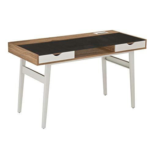 Techni Mobili Compact Computer Desk with Multiple Storage, Ergonomic Workstation with MDF Wood Panels and PVC Laminate Veneer Surface, Walnut (Kitchen)