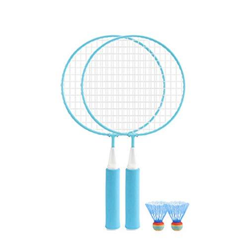 Conjunto de bádminton, Ferrolegización de alta precisión Profesional Badminton Rac Rac Rapcor Ball Sticks para entrenar deportes y entretenimiento con bolsas de raqueta de campanas de primavera,Azul