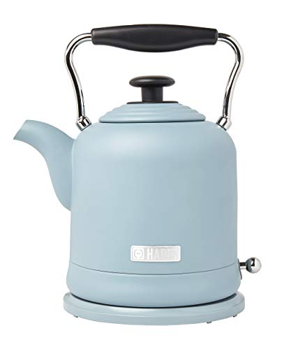 HADEN HIGHCLERE 1.5 Liter (6 Cup) Cordless, Vintage Electric Kettle in Pool Blue, 1.5 Litre
