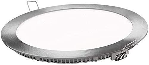 Placa LED SuperSlim Redondo 20W Downlight LED Luz Fría 6000k-6500k Marco Plata 1600 Lúmenes
