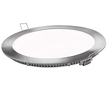 Placa LED Panel Super Slim 20W Redondo Empotrado Downlight LED Φ220mm Marco Plata Luz Fría 6000k-6500k 1600 Lúmenes