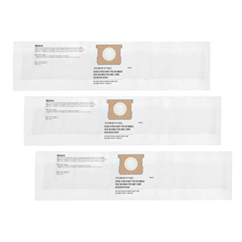 POWERTEC 75023 4 to 5 Gallon Vacmaster Dust Filter Bags VDBP | High Efficiency Replacement Filter for VWM510 and VQ407S – 3 Pack