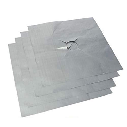 Gaskookplaat beschermer, 4 stks/set Zwart en zilver Herbruikbare folie Gaskookplaat Kookplaat Beschermer Liner Cover voor het schoonmaken van keukengereedschap Keukenaccessoires, zilver 4 stuks
