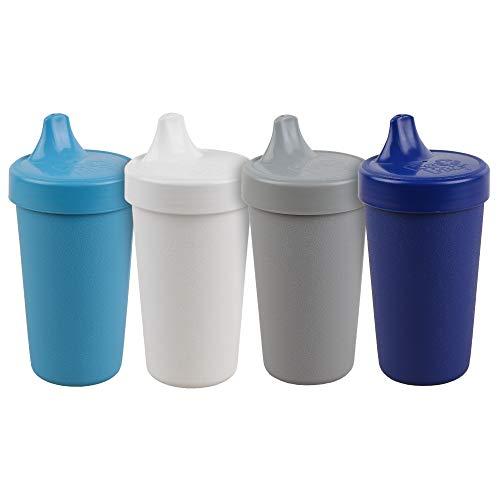 Re-Play Schnabeltassen für Babys, Kleinkinder und Kinder, 284 ml, BPA-frei, hergestellt in den USA aus umweltfreundlichen recycelten Milchkännchen, modernes Blau+