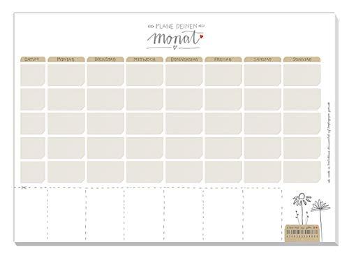 A4 Monatsplaner für Termine & To do\'s - Plane deinen Monat - Terminplaner für Familien, Paare und WG, Kalender Abreißblock, Weiß Beige, 25 Blatt Recyclingpapier, klimaneutral produziert